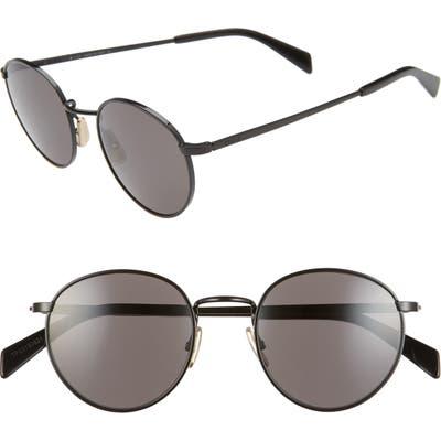 Celine 50Mm Round Sunglasses - Black/ Smoke