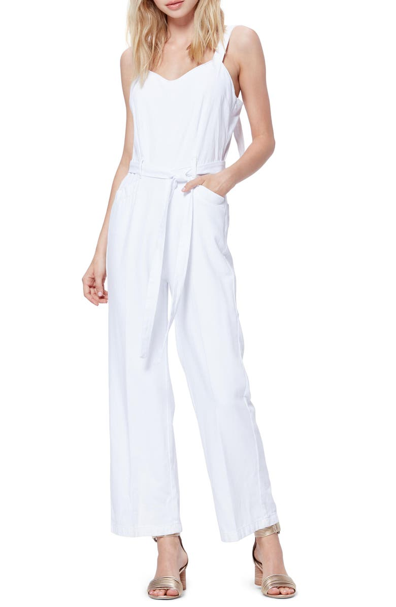 PAIGE Emma Tie Waist Cotton Blend Jumpsuit