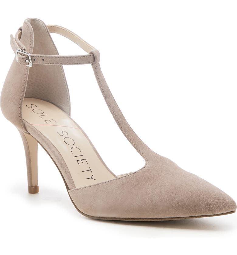 SOLE SOCIETY Renelle Sandal, Main, color, SHELL SUEDE