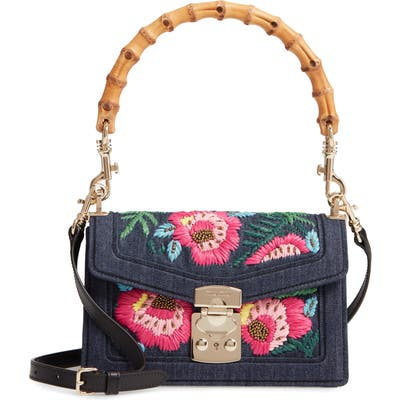 Miu Miu Denim Confidential Embroidered Top Handle Bag - Blue
