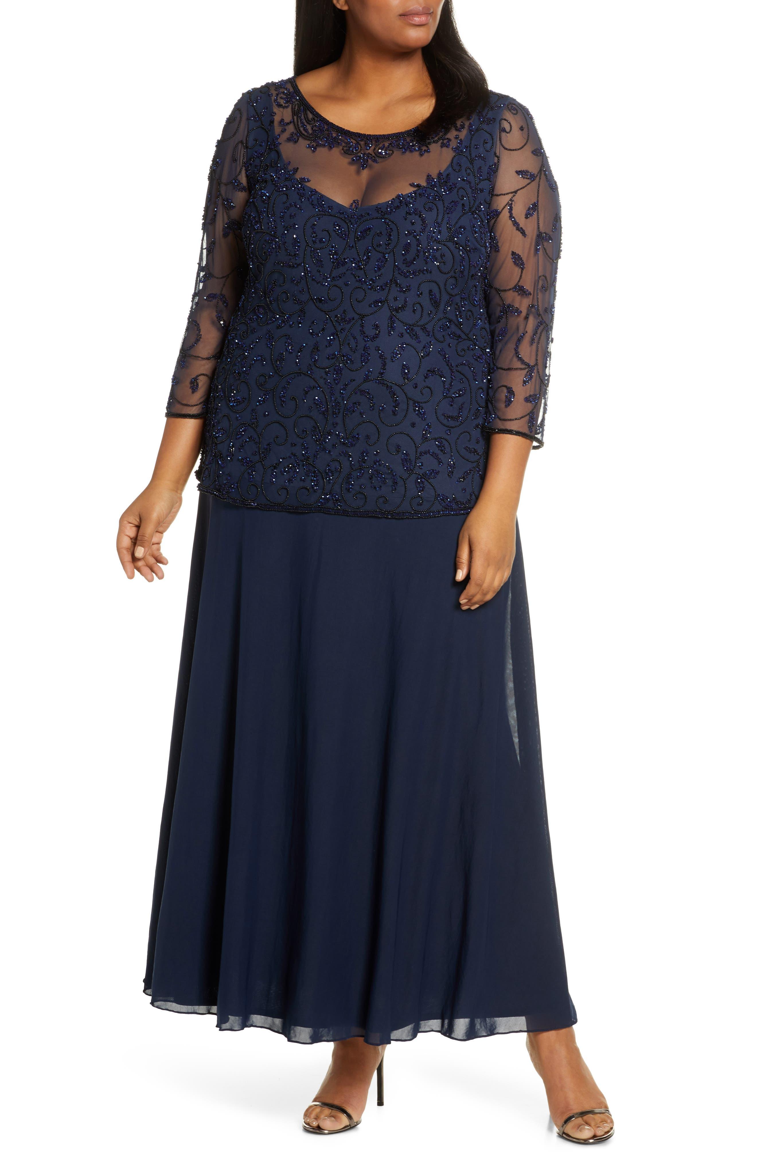 Plus Size Vintage Dresses, Plus Size Retro Dresses Plus Size Womens Pissaro Nights Beaded Mesh Mock Two-Piece Gown Size 20W - Blue $248.00 AT vintagedancer.com