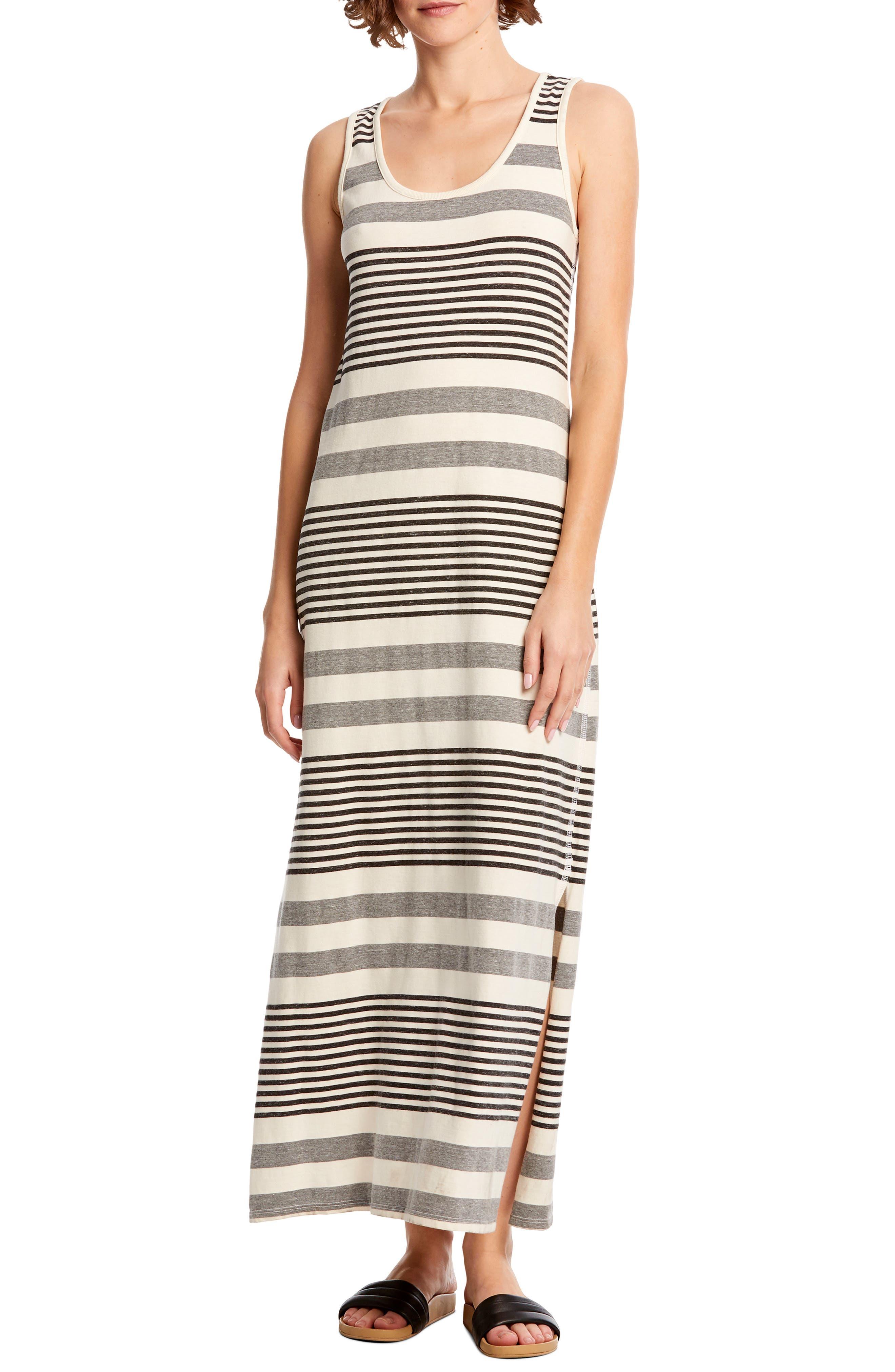 Michael Stars Isabelle Stripe Sleeveless Cotton Blend Tank Dress, White