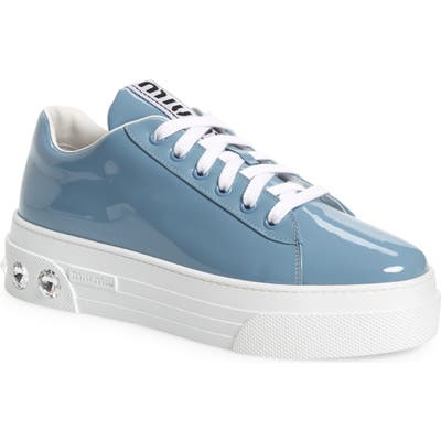 Miu Miu Crystal Detail Skate Sneaker, Blue