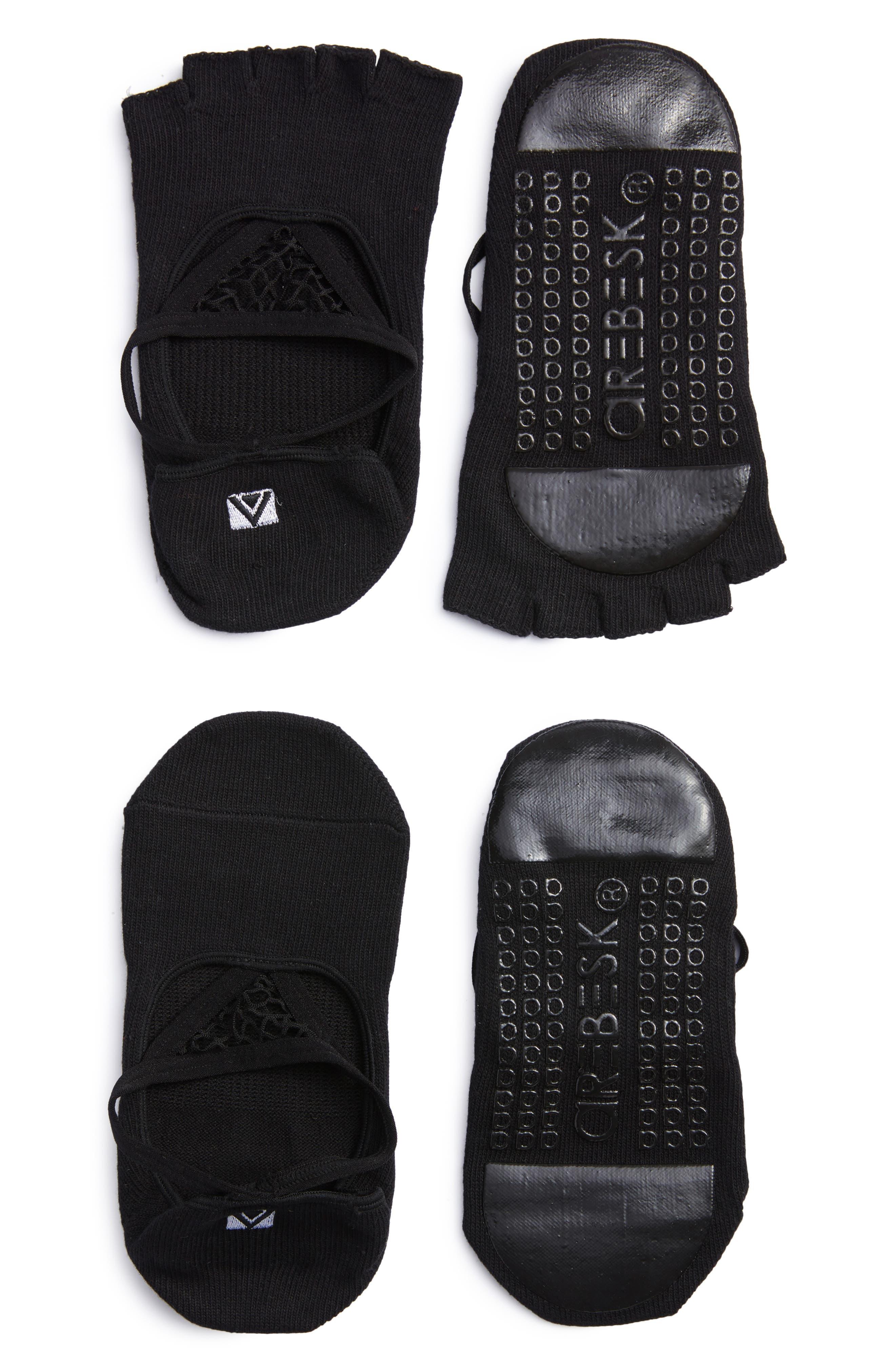 Muse Assorted 2-Pack No-Slip Open Toe & Closed Toe Socks