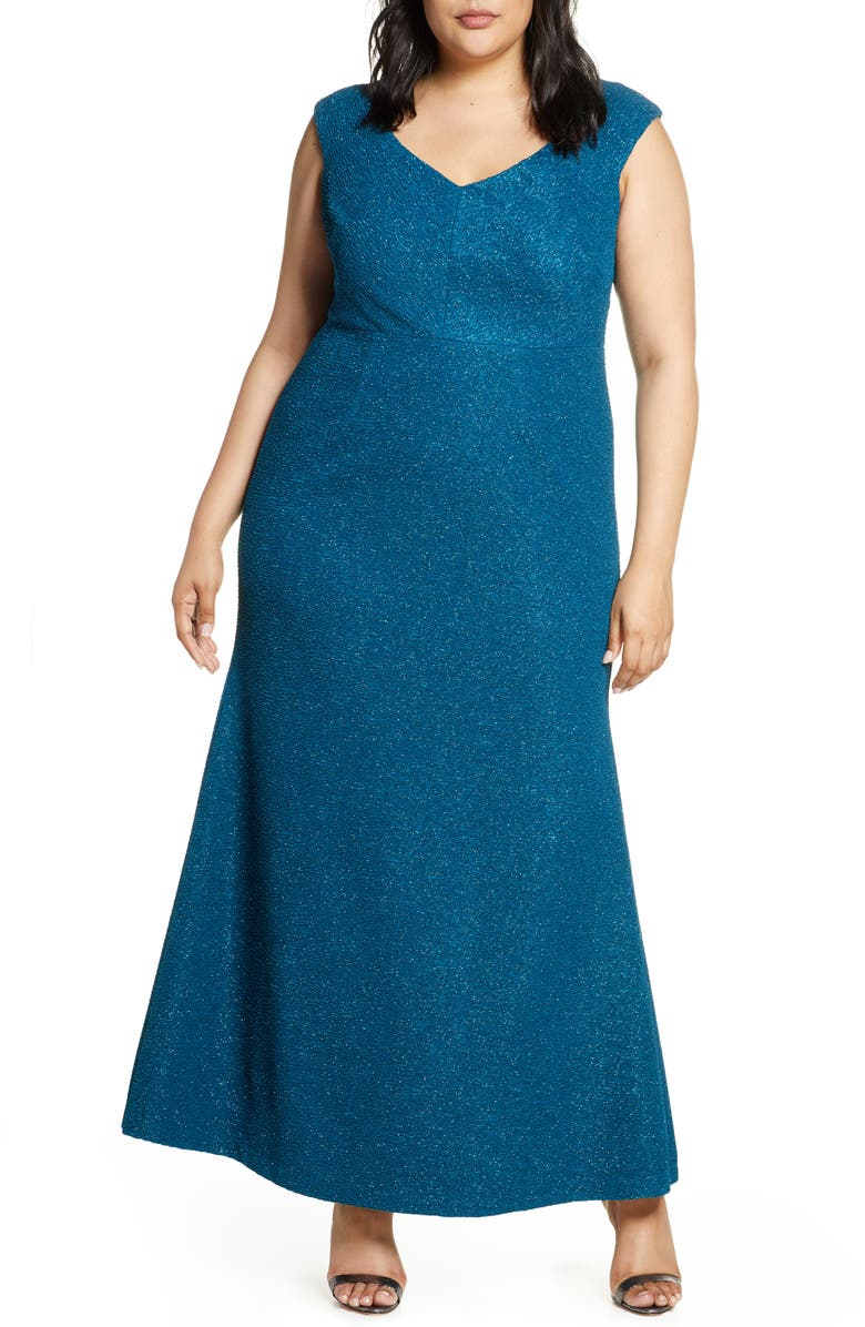 ELIZA J Glitter Mermaid Gown, Main, color, TEAL
