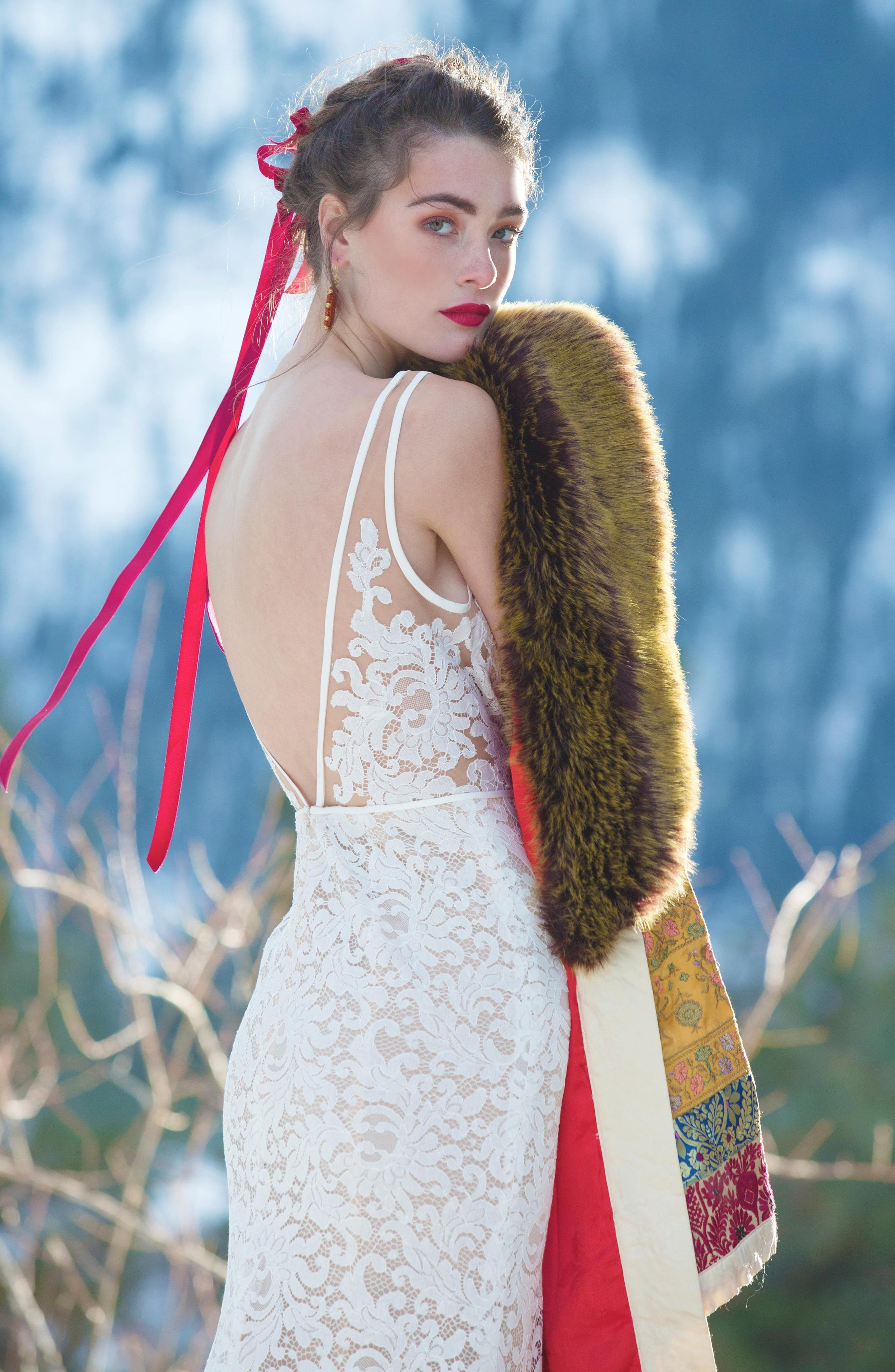 ,                             Derica Lace Gown,                             Alternate thumbnail 7, color,                             IVORY / NUDE
