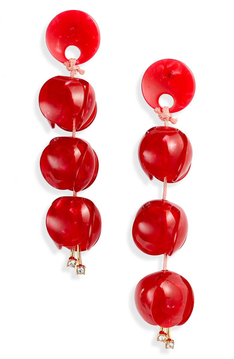 LELE SADOUGHI Bellflower Linear Drop Earrings, Main, color, CANDY APPLE RED