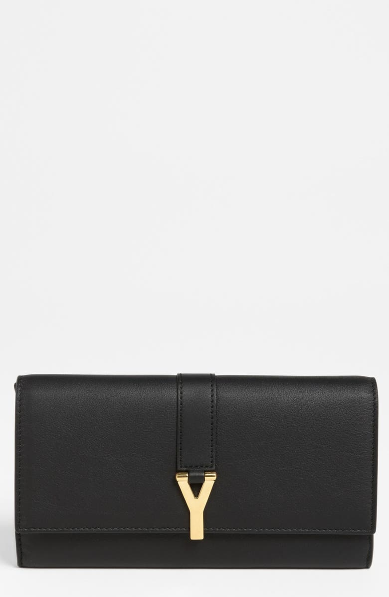 SAINT LAURENT 'Y Flap - Large' Leather Wallet, Main, color, 001