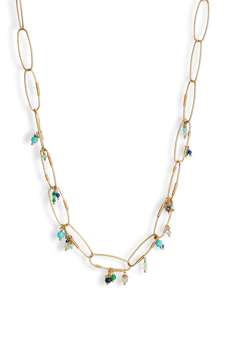 GAS BIJOUX Cocoa Charm Necklace, Main, color, GOLD/ GREEN