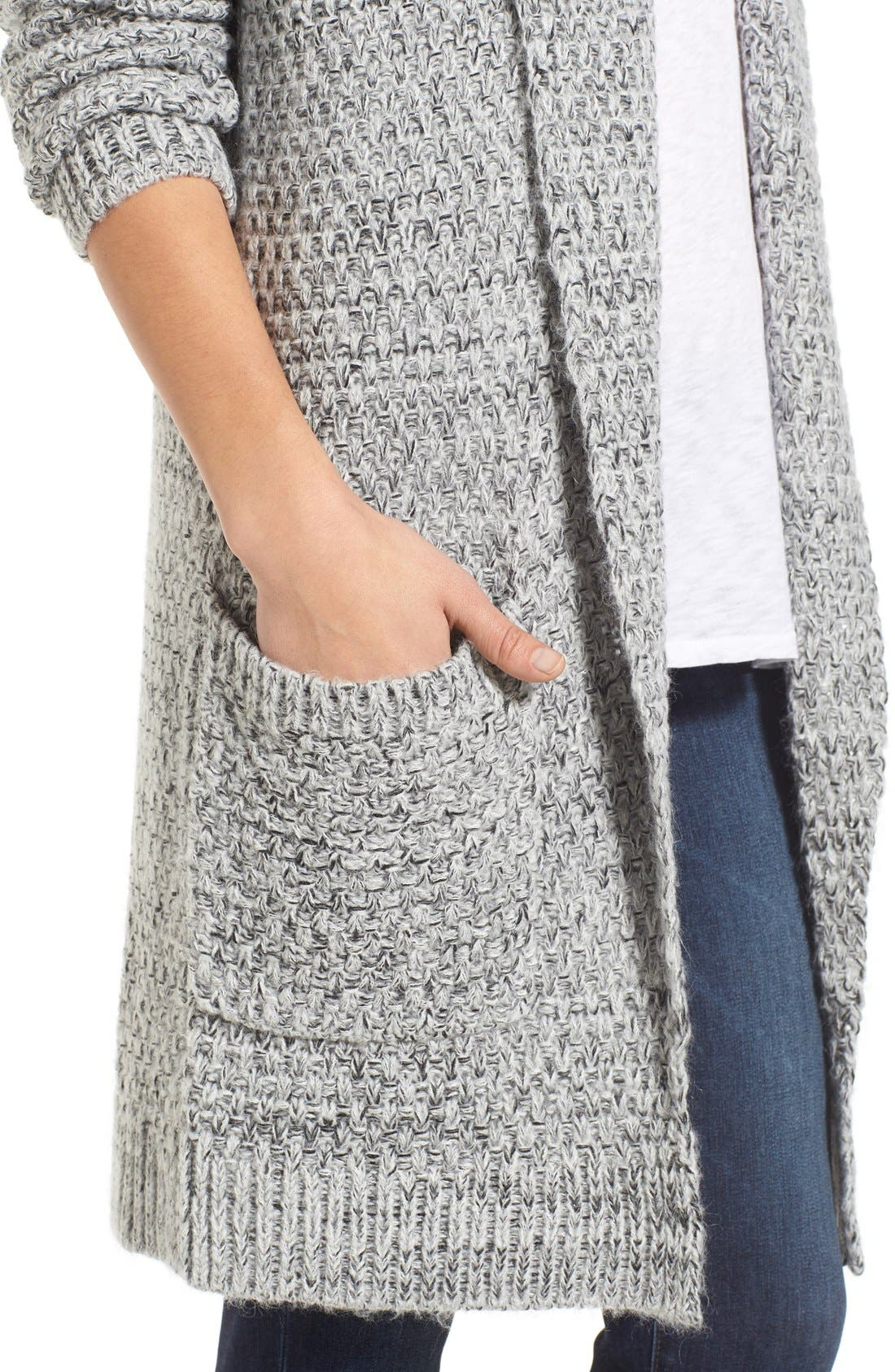 ,                             Marled Long Open Front Cardigan,                             Alternate thumbnail 11, color,                             020