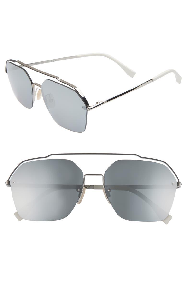 FENDI 61mm Navigator Sunglasses, Main, color, RUTHENIUM