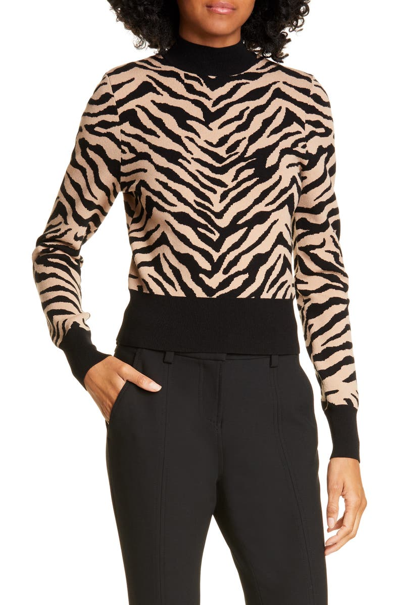 A.L.C. Lola Tiger Print Sweater, Main, color, TAUPE/ BLACK