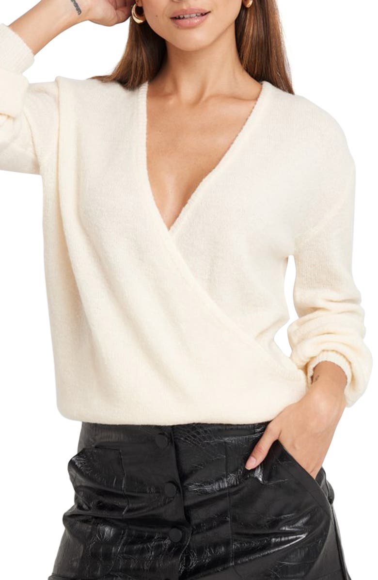 NA-KD V-Neck Surplice Faux Wrap Sweater, Main, color, OFF WHITE
