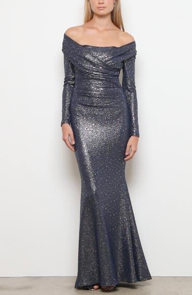 Sequin Glitter Long Sleeve Mermaid Gown, video thumbnail