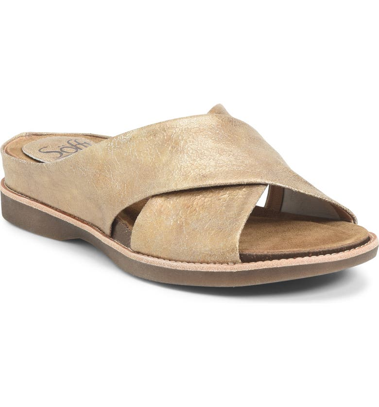 SÖFFT Brylee Slide Sandal, Main, color, GOLD LEATHER