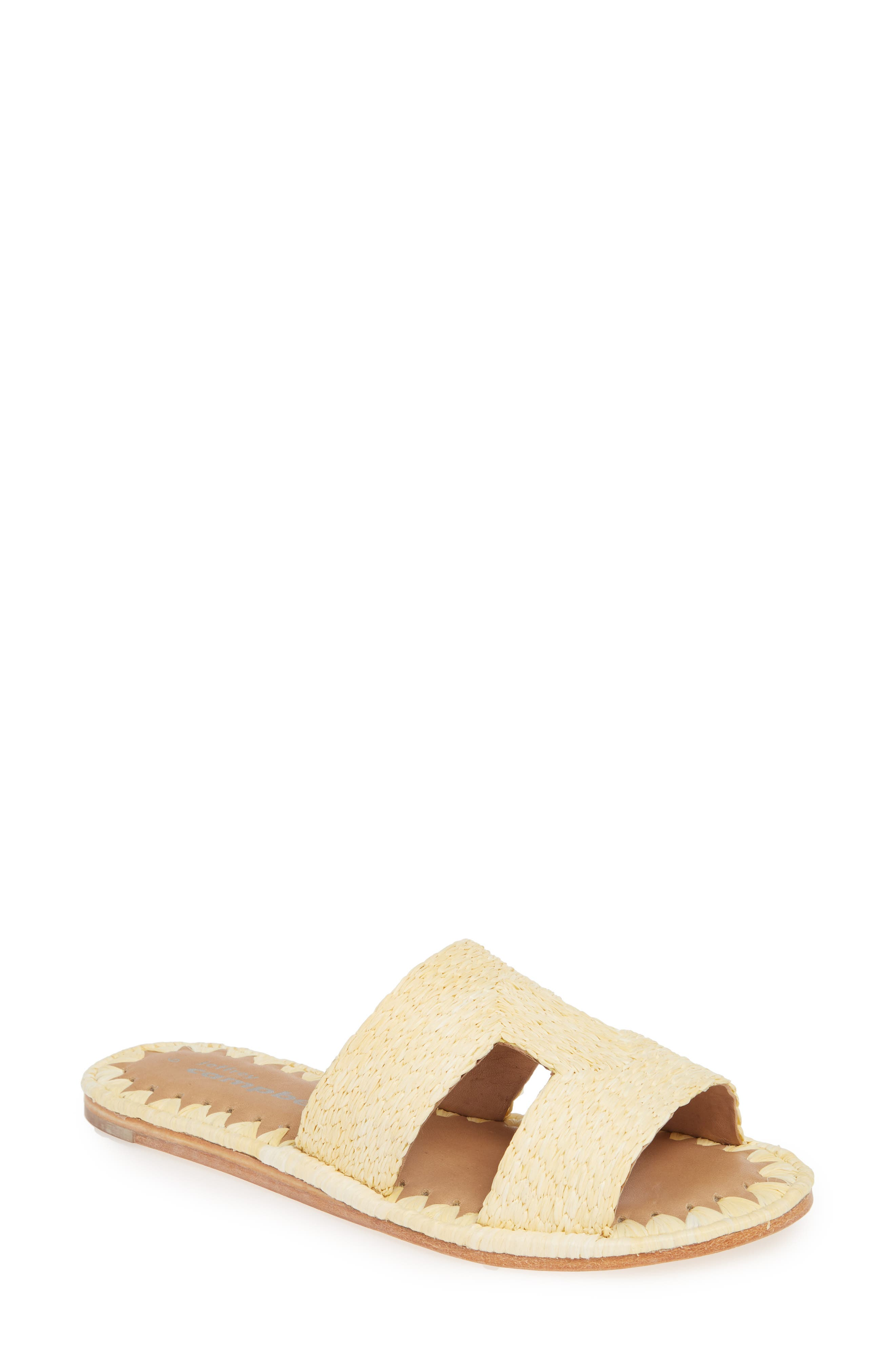 Ernon Raffia Slide Sandal, Main, color, NATURAL
