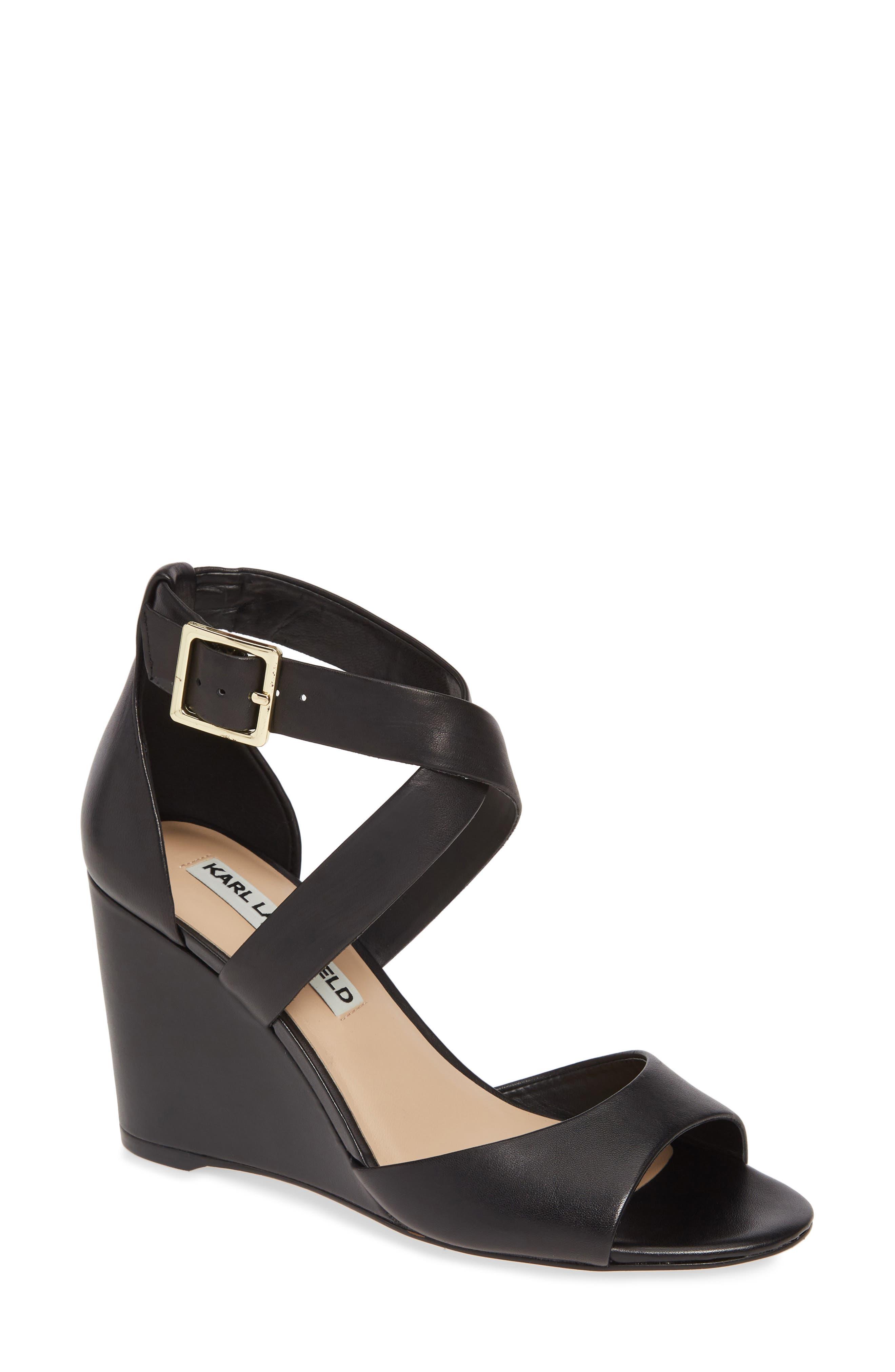 Karl Lagerfeld Paris Radka Wedge Sandal- Black