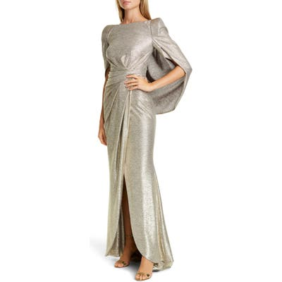 Talbot Runhof Drape Back Metallic Jersey Gown, Metallic
