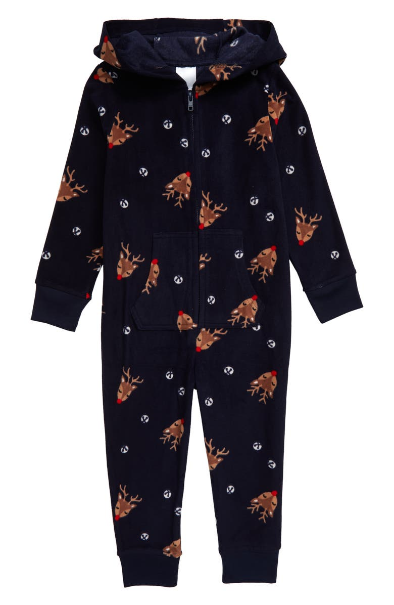 NORDSTROM Family Pajamas Hooded One-Piece Pajamas, Main, color, NAVY PEACOAT HOLIDAY FESTIVE