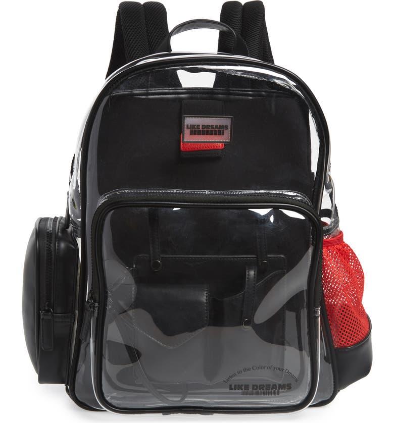 LIKE DREAMS Transparent Backpack, Main, color, 001