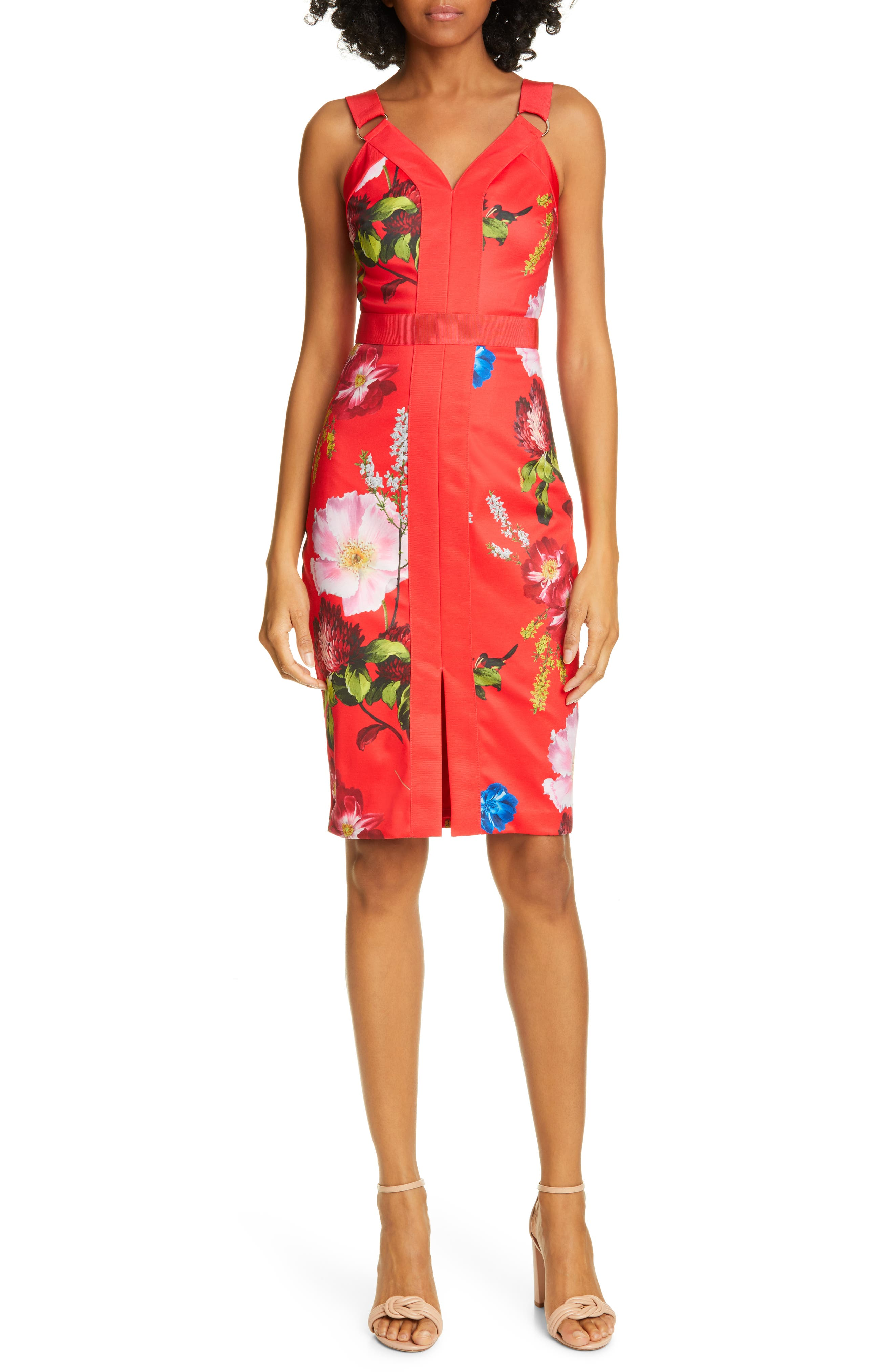 Ted Baker London Amylia Floral Sheath Dress, Red