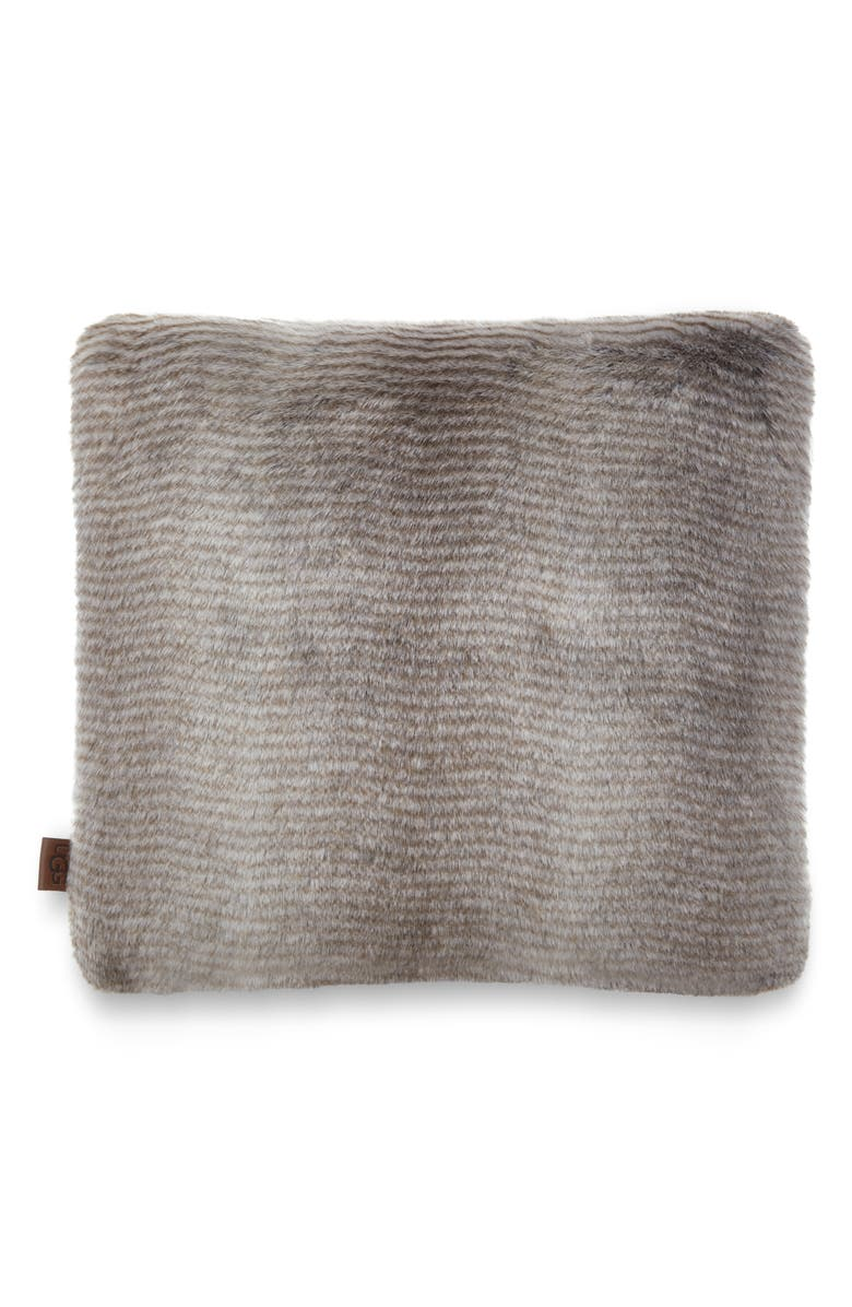 UGG<SUP>®</SUP> Kylan Faux Fur Accent Pillow, Main, color, LIGHT SAND / CHARCOAL