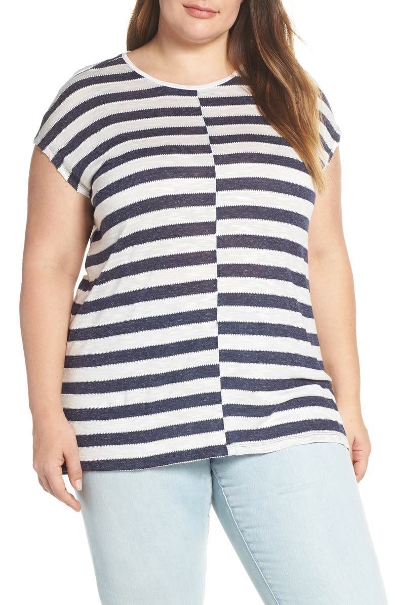 Vince Camuto Misaligned Stripe Top