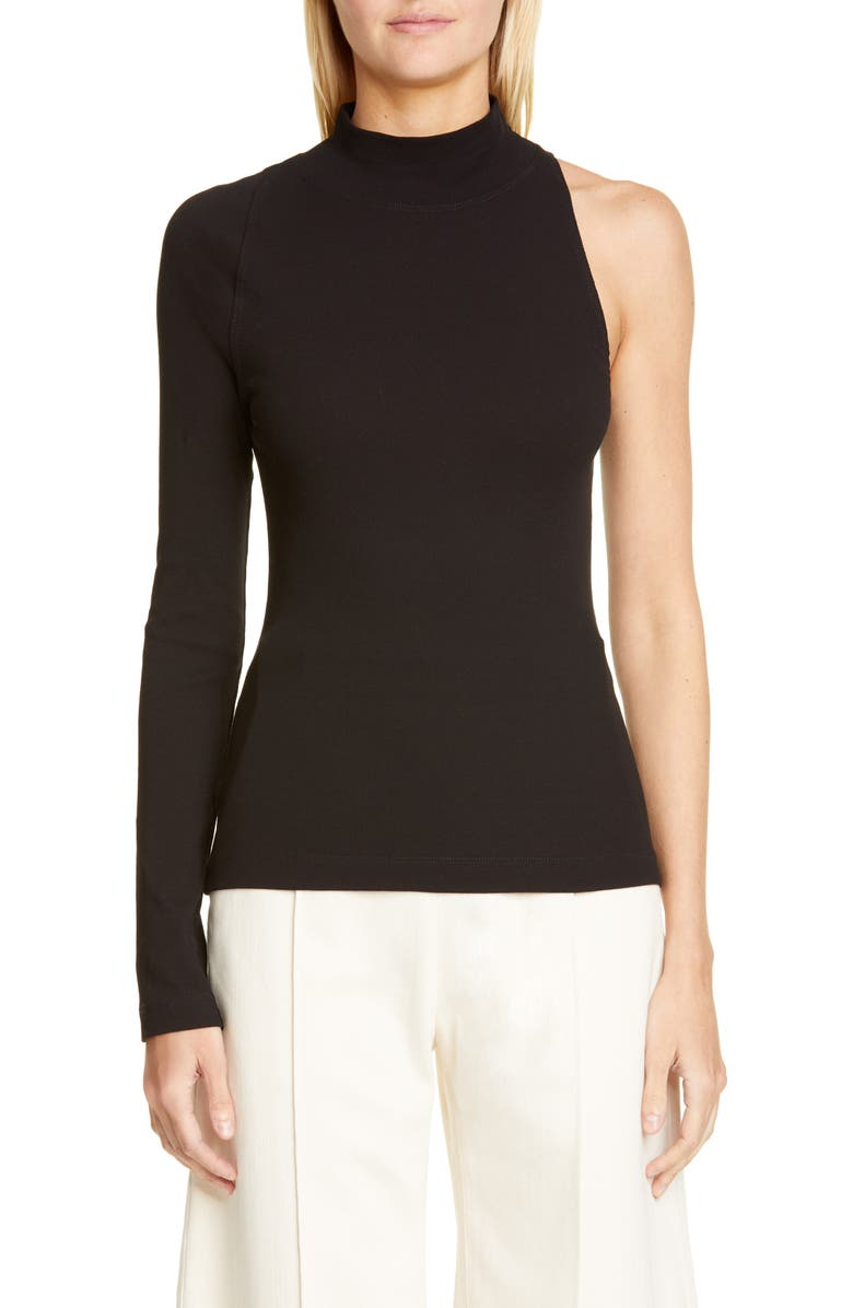 ROSETTA GETTY One-Shoulder Top, Main, color, BLACK