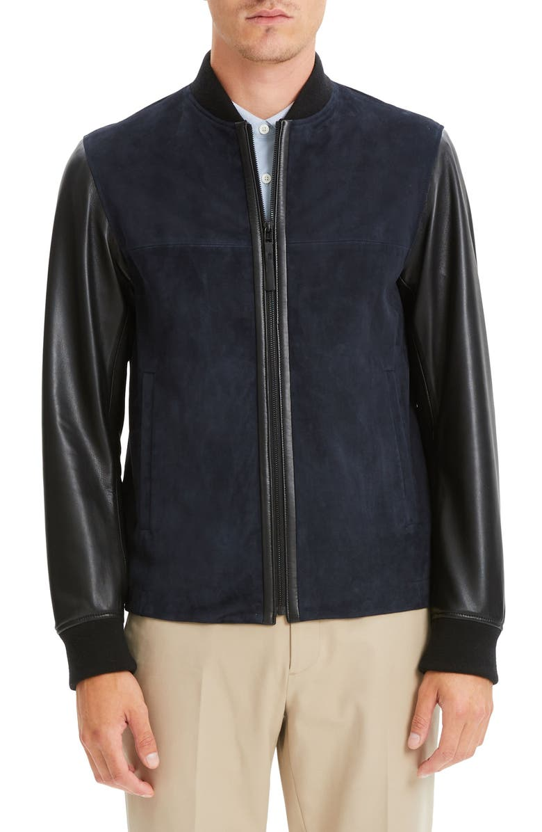 THEORY Amir Regular Fit Suede & Leather Bomber Jacket, Main, color, 001