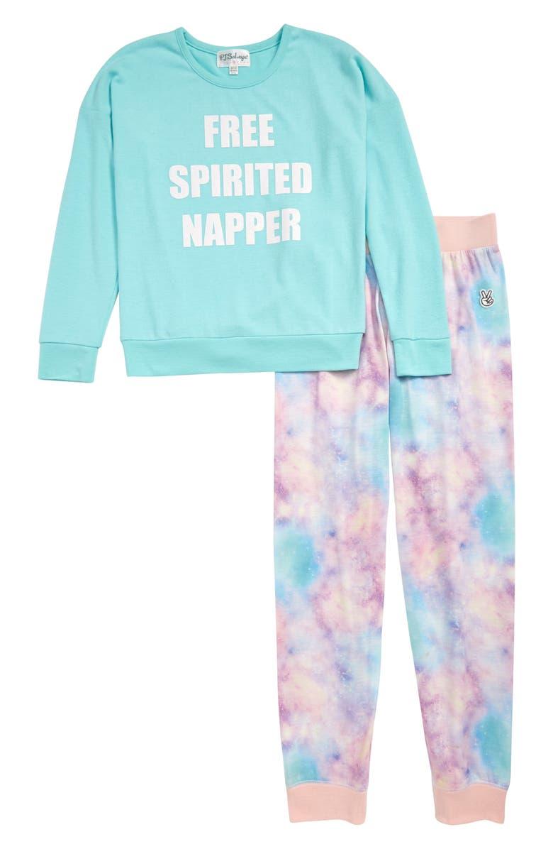 PJ SALVAGE Two-Piece Pajamas, Main, color, AQUA