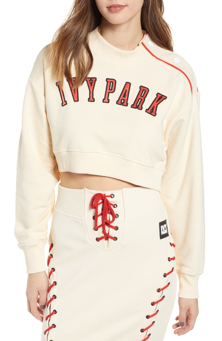 IVY PARK<SUP>®</SUP> Baseball Popper Crop Sweatshirt, Main, color, 250