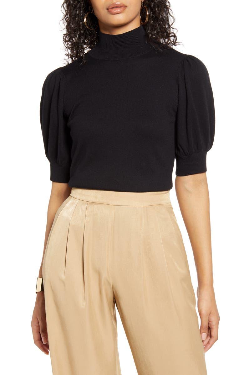HALOGEN<SUP>®</SUP> Mock Neck Puff Shoulder Sweater, Main, color, 001
