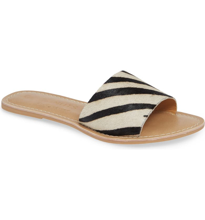 COCONUTS BY MATISSE Cabana Genuine Calf Hair Slide Sandal, Main, color, ZEBRA PRINT CALF HAIR