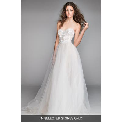 Willowby Mandara Lace & Tulle Strapless Ballgown, Size IN STORE ONLY - Ivory