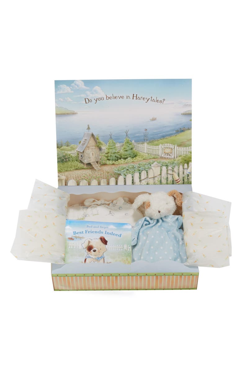BUNNIES BY THE BAY Welcome Sweet Baby Cap, Gown, Swaddle Blanket, Stuffed Animal & Book Set, Main, color, BLUE