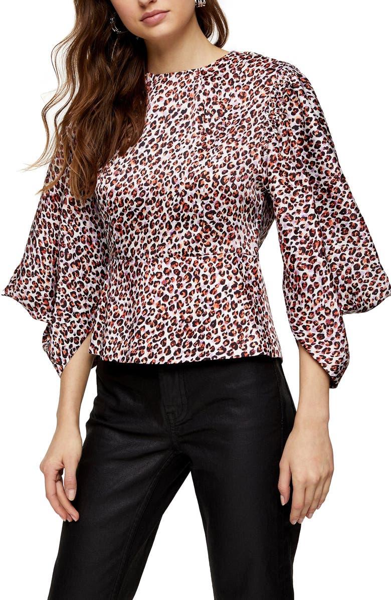 TOPSHOP Leopard Print Blouson Sleeve Top, Main, color, 002