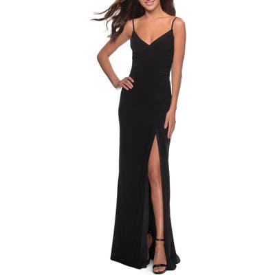 La Femme Ruched Soft Jersey Gown, Black