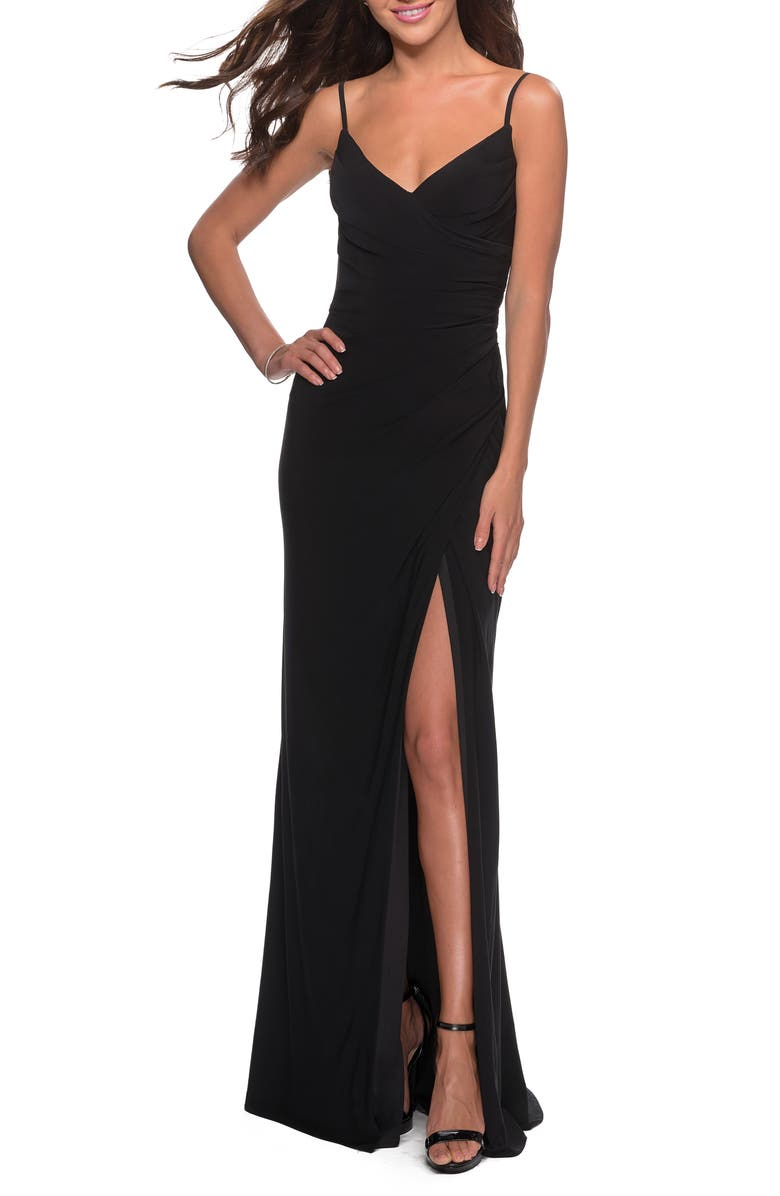 LA FEMME Ruched Soft Jersey Gown, Main, color, BLACK