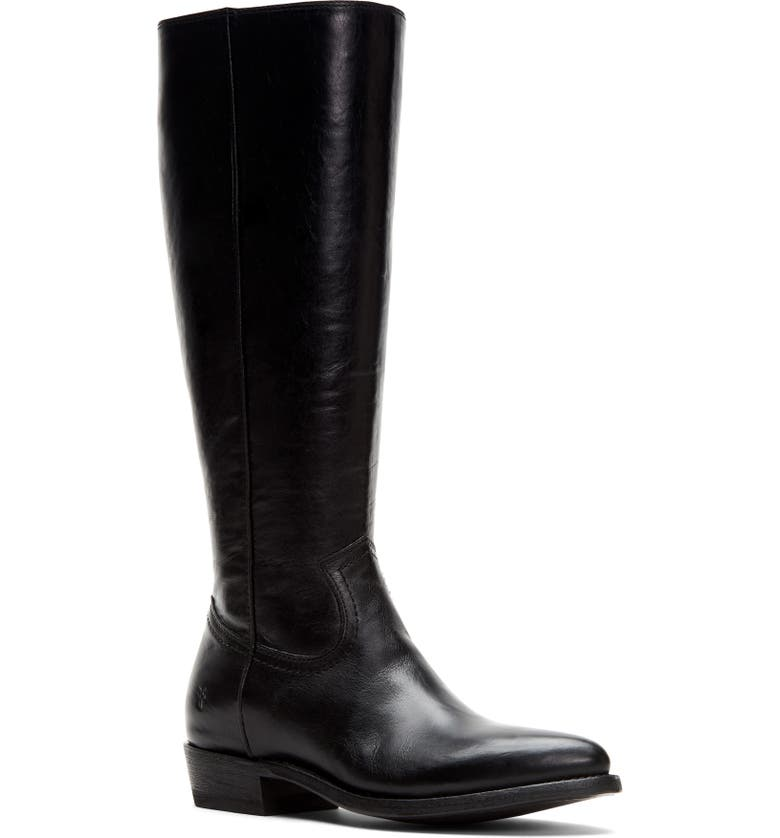 FRYE Billy Knee High Boot, Main, color, BLACK LEATHER