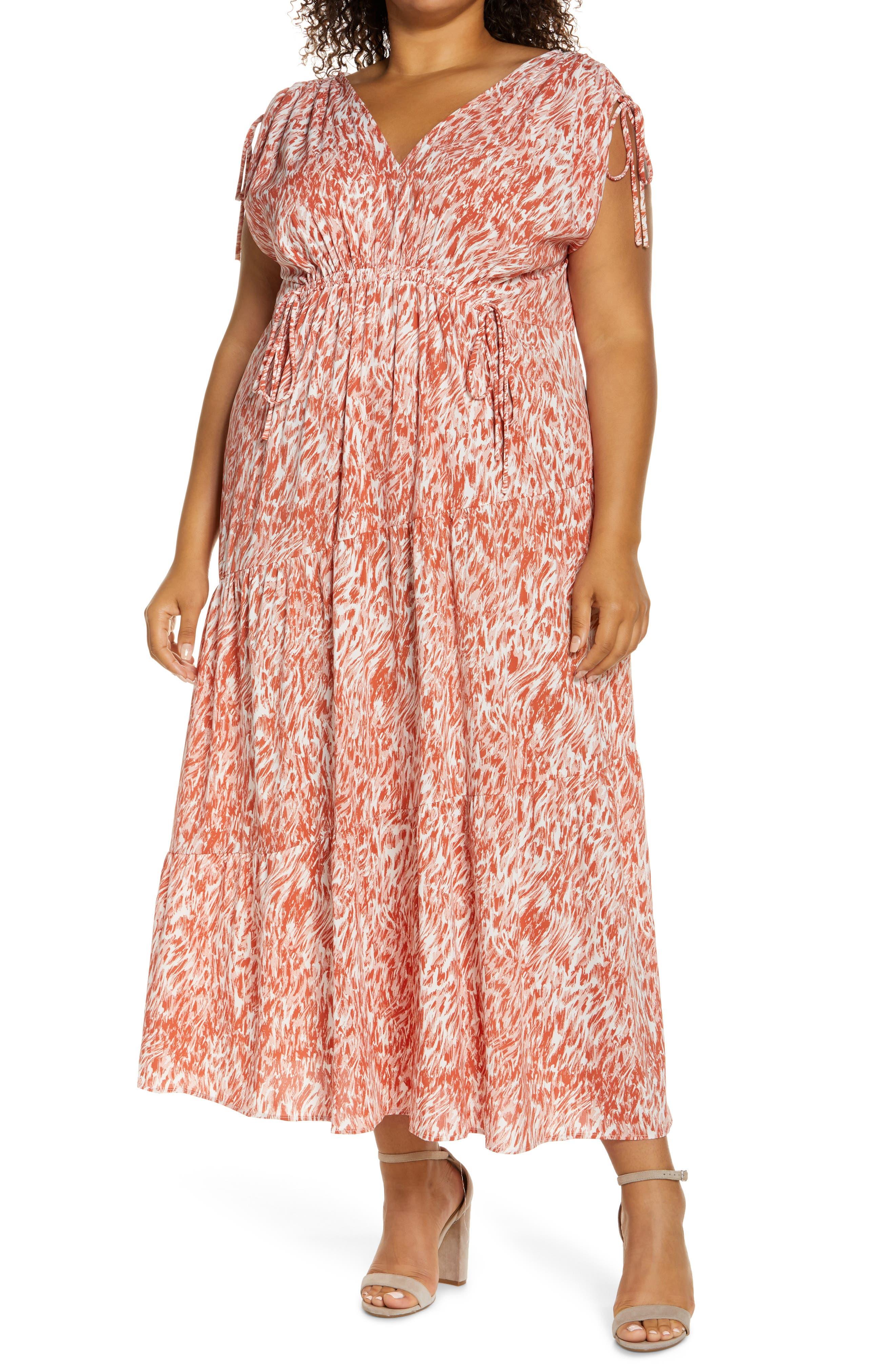 Abstract Swirl Print Tie Sleeve Maxi Dress