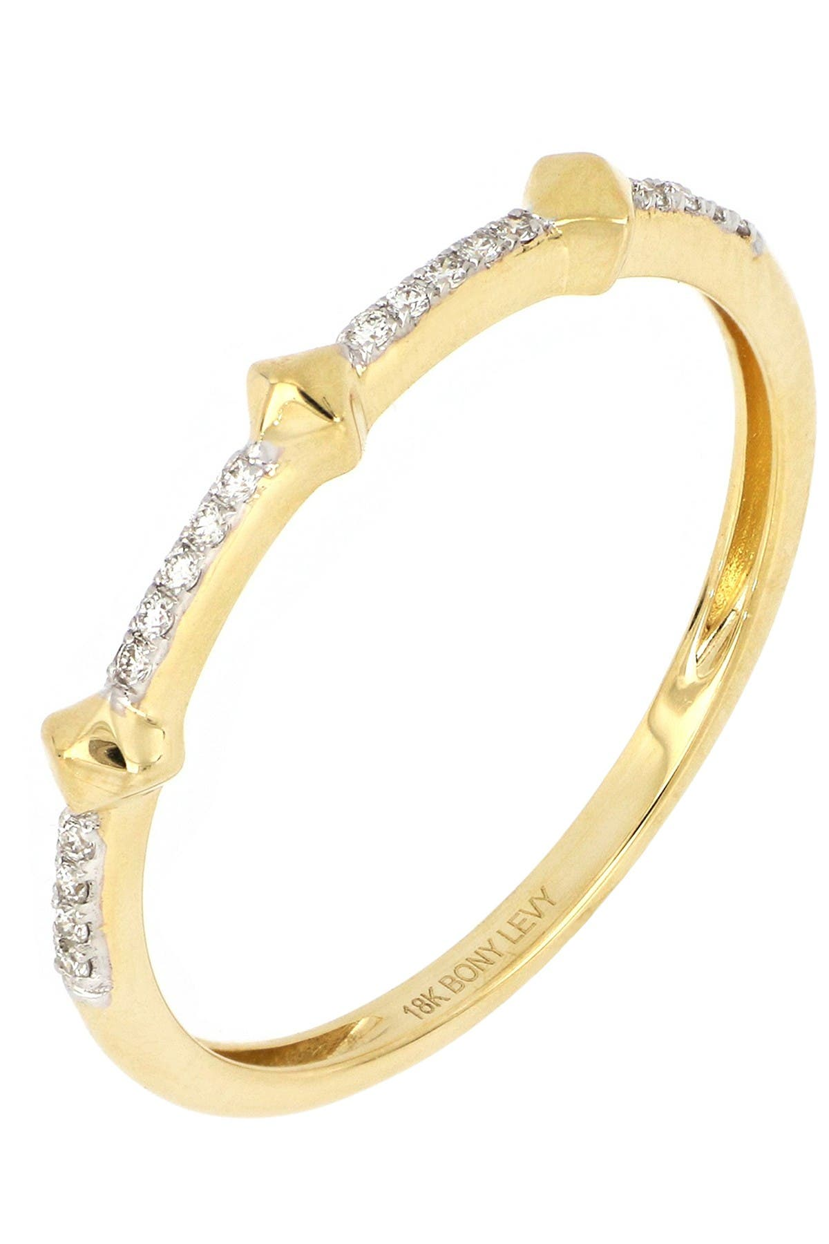 Image of Bony Levy 18k Yellow Gold & Cleo Pave Diamond Stack Ring - 0.05 ctw