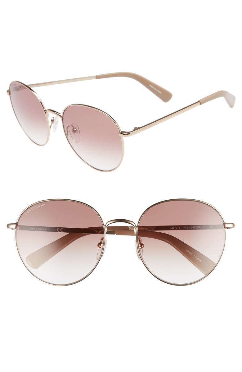 LONGCHAMP 56mm Round Sunglasses, Main, color, ROSE GOLD/ NUDE