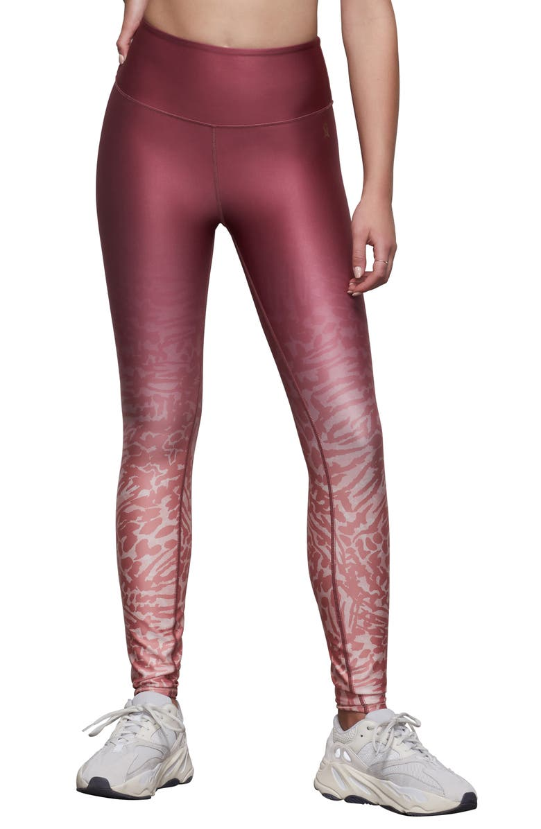GOOD AMERICAN Ombré Animal Print High Waist Leggings, Main, color, WILD HIBISCUS