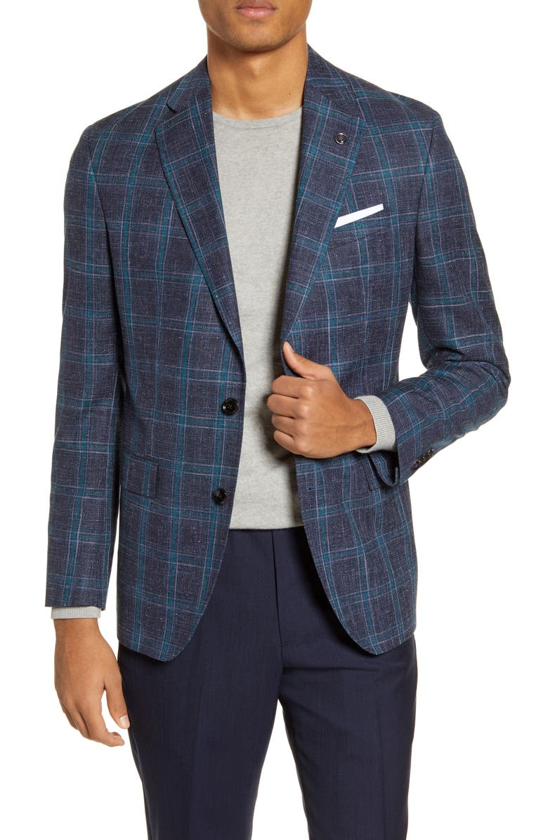 TED BAKER LONDON Konan Trim Fit Plaid Wool Blend Sport Coat, Main, color, NAVY