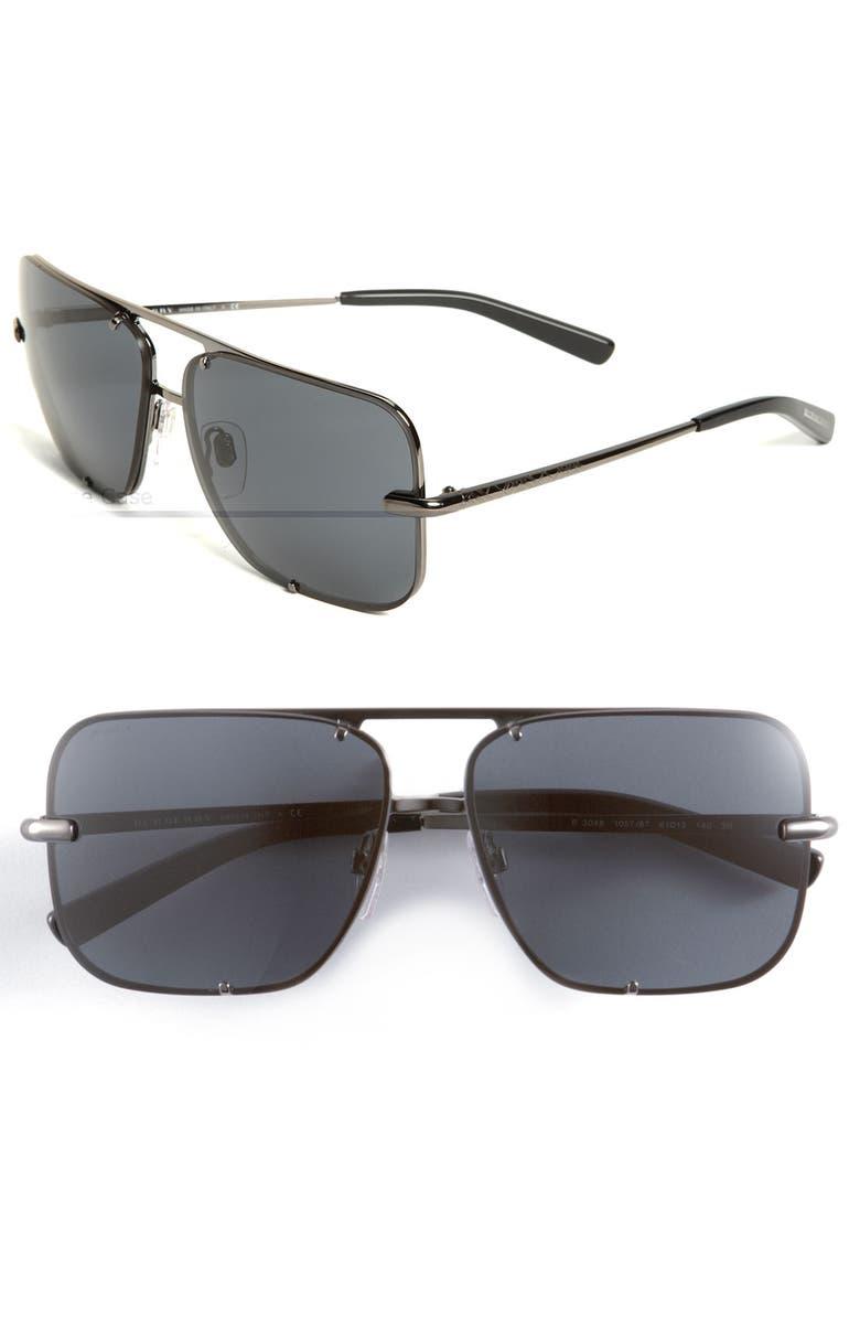 BURBERRY Square Metal Aviator Sunglasses, Main, color, 062