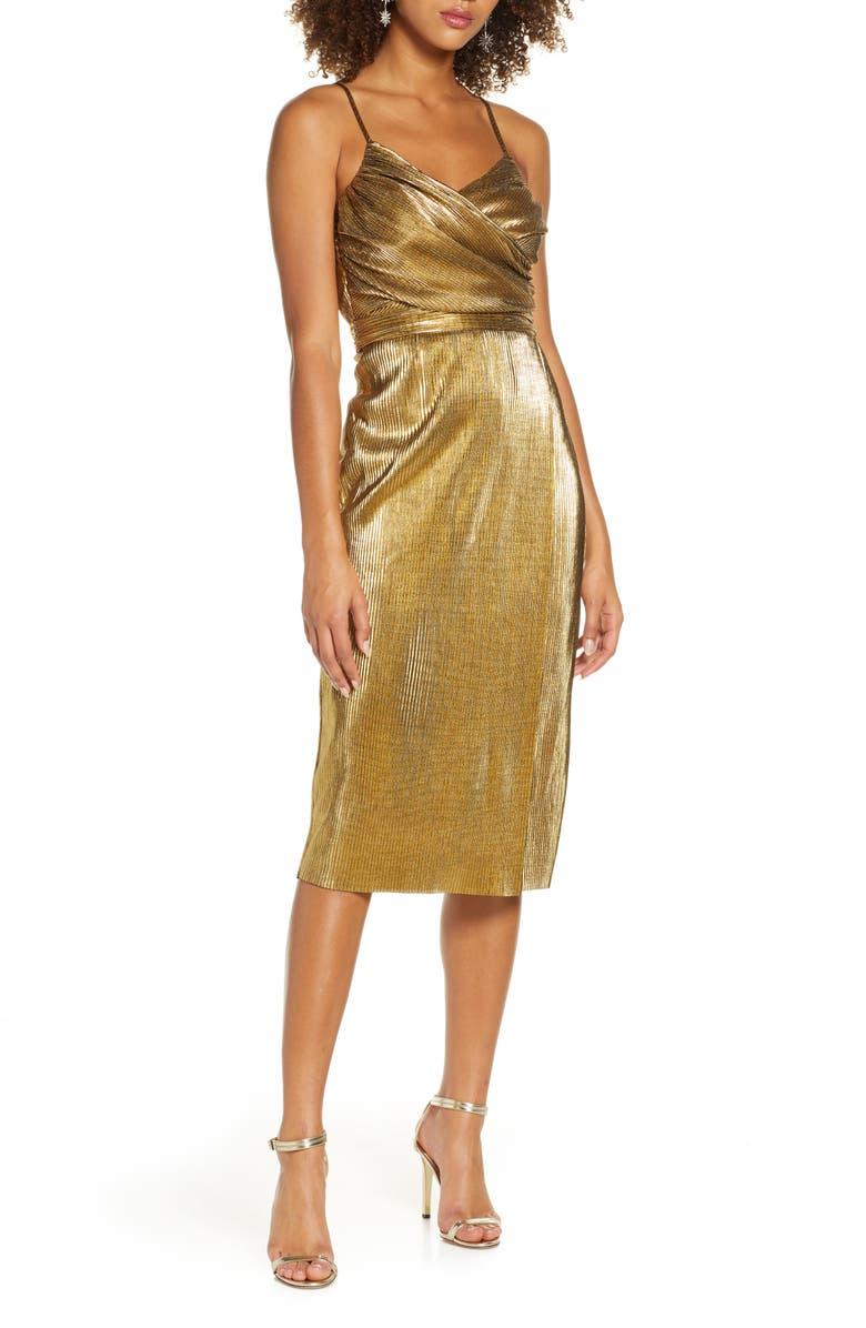 LULUS Love & Luxury Metallic Plissé Cocktail Dress, Main, color, SHINY GOLD