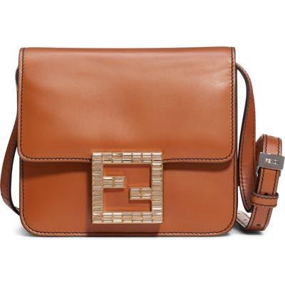 Fendi Fab Leather Crossbody Bag - Brown
