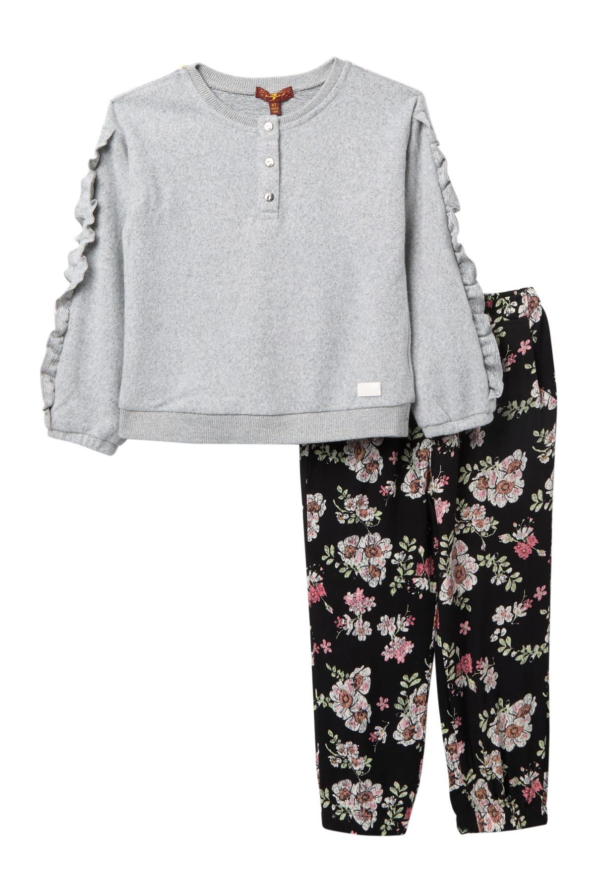 Image of 7 For All Mankind Ruffle Shirt & Leggings Set
