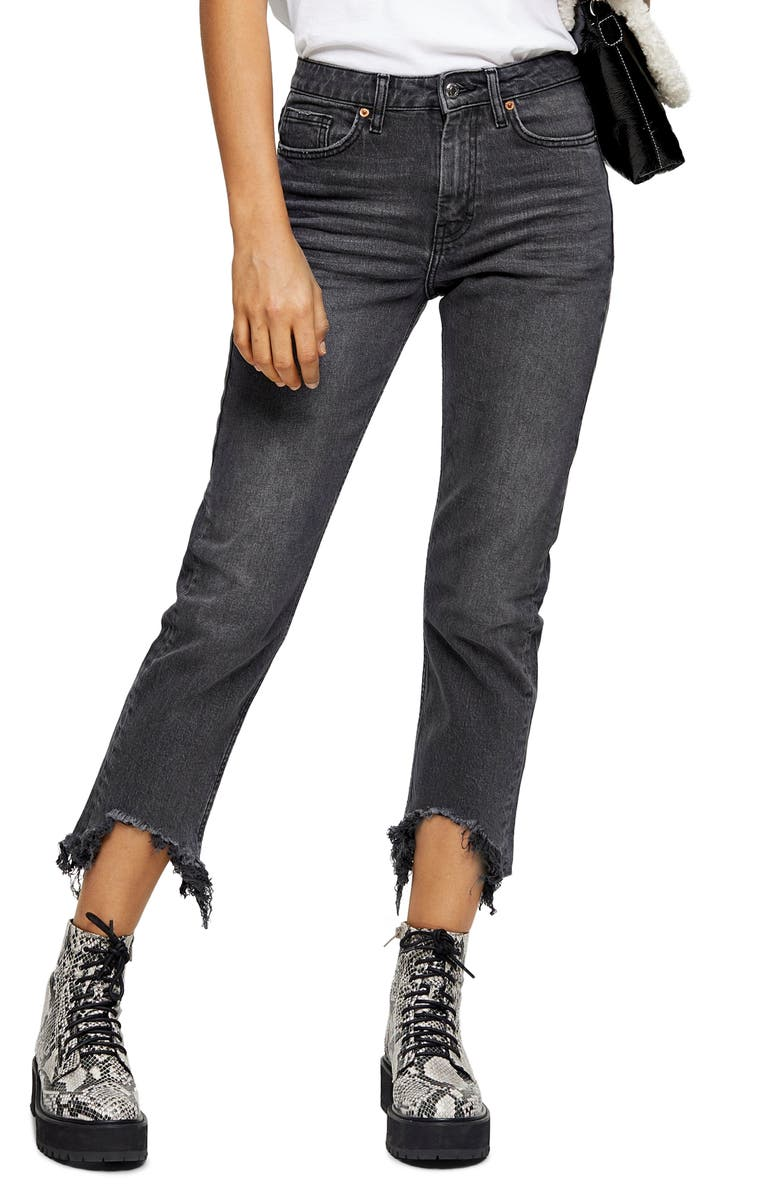 TOPSHOP Bondi Frayed Hem Jeans, Main, color, WASHED BLACK