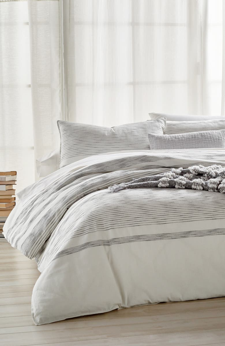 DKNY Pure Woven Stripe Duvet, Main, color, IVORY/ BLACK